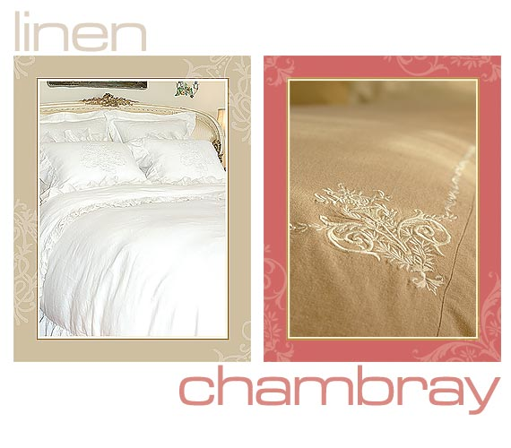 embroidered linen chambray bedding